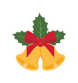 golden christmas bells with red bow and holly vector image vector image