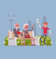 grandparents and grandson in park vector image vector image