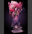 graphic geisha with umbrella vector image vector image