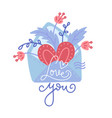 hand drawn envelope with heart florals vector image vector image