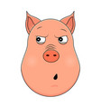 head of paranoid pig in cartoon style kawaii vector image vector image