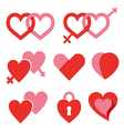 Hearts set for wedding and valentine design vector image vector image