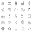 Hi tech line icons with reflect on white vector image vector image