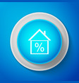 house with discount tag icon on blue background vector image