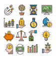 investment filled outline icons vector image