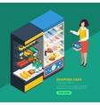 Isometric Supermarket Interior vector image vector image