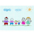 kids drawings happy family colored pencil hand vector image vector image