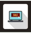 Laptop empty screen with Sale word icon vector image