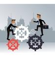 men business gears teamwork urban background vector image vector image