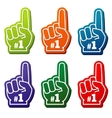 Multi colored number 1 foam fingers icons vector image