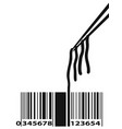 noodle barcode with chopstick vector image vector image