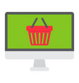 online shopping flat icon basket and pc vector image vector image