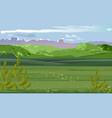 pastoral scenery green field with plants vector image vector image