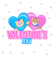 postcard with a teddy bear and lovely hearts vector image vector image