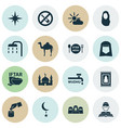 ramadan icons set with forbidden imam ghusl and vector image