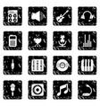recording studio symbols icons set grunge vector image vector image