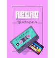 retro mixtapes cartoon poster music and sound vector image