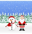 Santa Claus and Christmas snowman vector image vector image