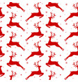 seamless pattern with red deers and snowflakes vector image vector image