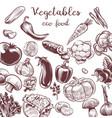 serve vegetables hand drawn vintage engraving vector image vector image