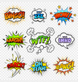 set comic bubble speech clouds onomatopoeia vector image