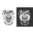 skull with human brain label vector image vector image