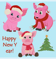 three little pink piglets in santas hat and a vector image