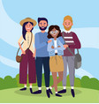 university woman and men friends with bags vector image vector image