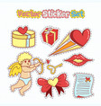 valentines day sticker patches in doodle style vector image vector image