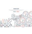 wine shop - modern line design style web banner vector image