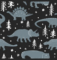 winter seamless pattern with cute young vector image