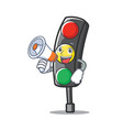with megaphone traffic light character cartoon vector image vector image