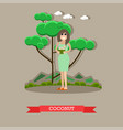 woman with coconut cocktail flat vector image