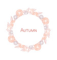 wreath of autumn flowers-sunflowers round frame vector image