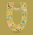 yellow letter u with floral decor and necklace vector image vector image