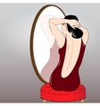 Beautiful girl making hair bun before a mirror vector image