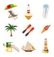 sea and tourism flat icon set cartoon vector image