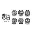 Mexican sugar skull collection in black and white vector image