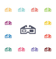 3d cinema flat icons set vector image vector image