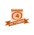 4 october calendar with ribbon vector image