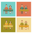 assembly flat icons pupils at school desk vector image
