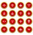 aviation icon red circle set vector image vector image