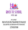 back to school - font banner latin alphabet for vector image vector image