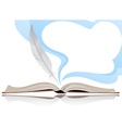 Book and feather vector image vector image