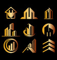 building ico set gold logo vector image vector image