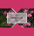 business card tulip flowers background vector image
