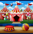 cartoon circus arena with tents background vector image vector image