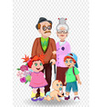 cartoon of grandparents and grandchildren together vector image