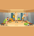changing room with football players vector image vector image