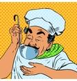 chef tastes food kitchen vector image vector image